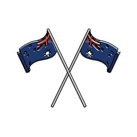 Australian flag of australia travel landscape and landmark theme Isolated design Vector illustration Illustration