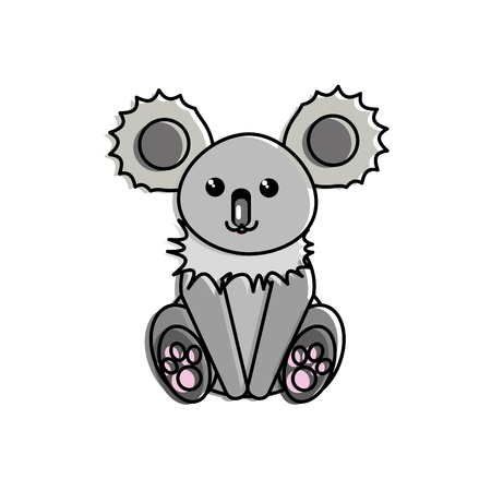 Koala cartoon of cute animal and adorable creature theme Isolated design Vector illustration