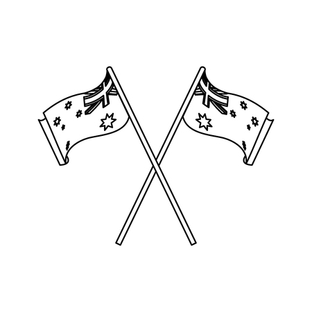 Australian flag of australia travel landscape and landmark theme Isolated design Vector illustration Ilustração