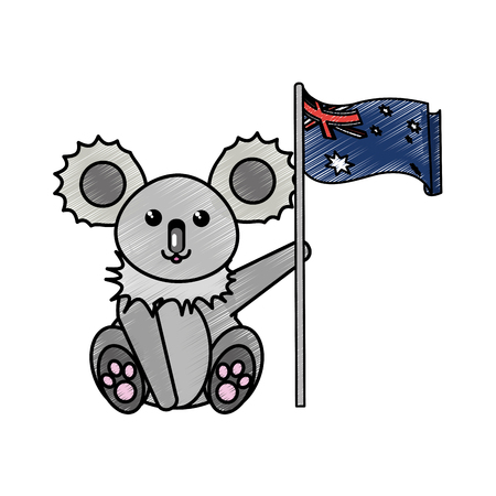 Australian koala of australia travel landscape and landmark theme Isolated design Vector illustration Illustration