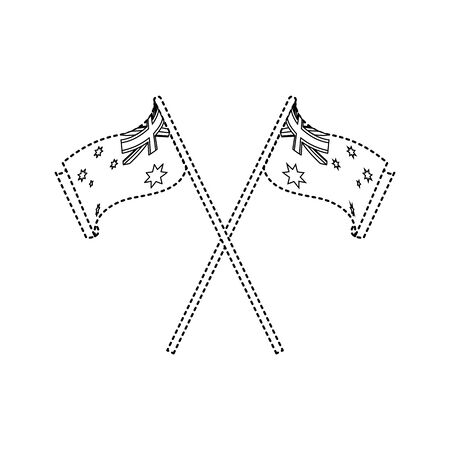 Australian flag of australia travel landscape and landmark theme Isolated design Vector illustration Illusztráció