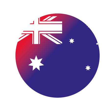 Australian button design on white background illustration.