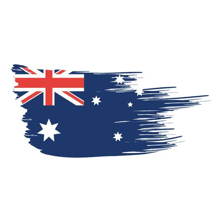 Australian flag of australia travel landscape and landmark theme Isolated design Vector illustration 일러스트