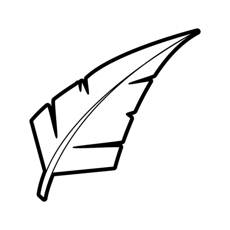 Isolated feather design in black and white illustration.