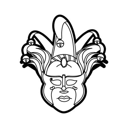 Isolated mask design in black and white illustration. Illustration