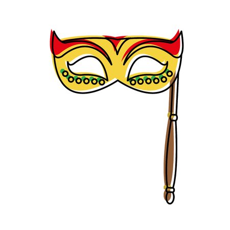 Mask of masquerade carnival costume and party theme isolated design illustration Illustration