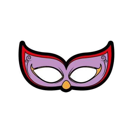 Mask of masquerade carnival costume and party theme Isolated design illustration. Illustration