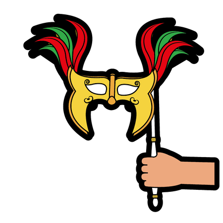 Mask of masquerade carnival costume and party theme Isolated design Vector illustration Illustration