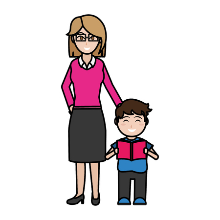 Boy and teacher of school education and lesson theme Isolated design Vector illustration