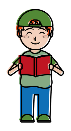 Boy and book,  education and lesson theme Isolated design Vector illustration