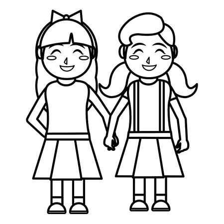 Girls cartoons of kid childhood and little people theme Isolated design Vector illustration
