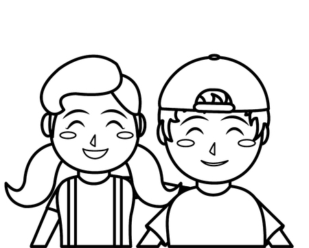 Girl and boy cartoon of kid childhood and little people theme Isolated design Vector illustration Иллюстрация