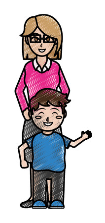 Boy and mother cartoon design on white background