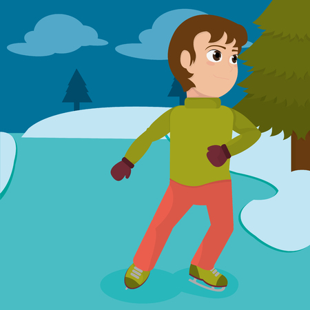 Boy with winter clothes and skates in the ice vector illustration.