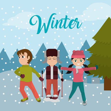 Children with winter clothes and cold weather vector illustration