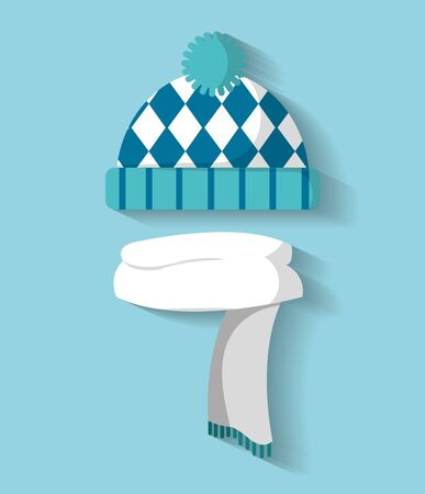 冬の寒さのベクトル図のスカーフの服を着て帽子。  イラスト・ベクター素材