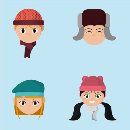 A set children head with winter hat clothes vector illustration  イラスト・ベクター素材