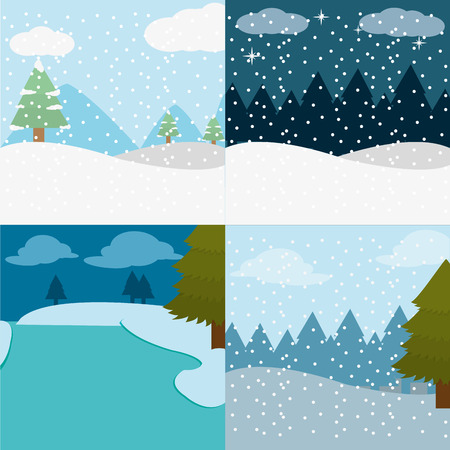 A set winter landscape and snowing weather vector illustration