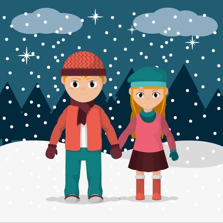 Boy and girl wearing winter clothes icon.