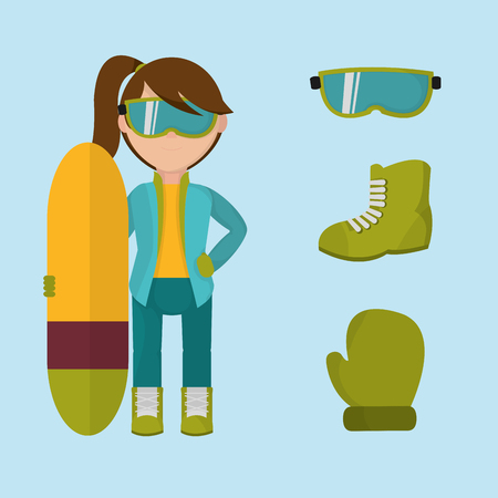A set girl with winter clothes and skiing board vector illustration