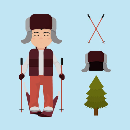 A set boy with winter clothes and skiing board vector illustration
