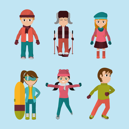 Kids wearing winter clothes icon.