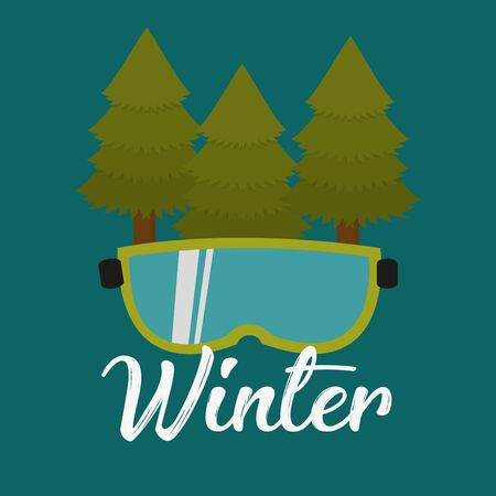 眼鏡の松の木は冬スキー ベクトル図です。