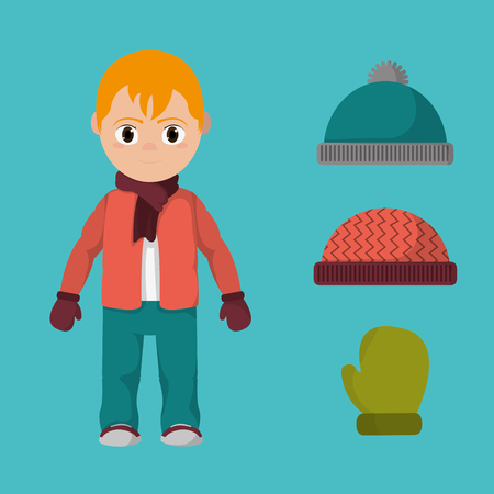 Boy with winter clothes icon.