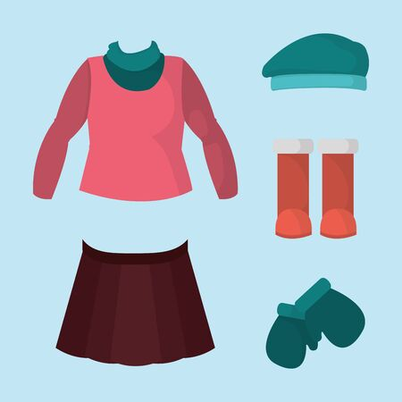 Girls winter clothes icon.