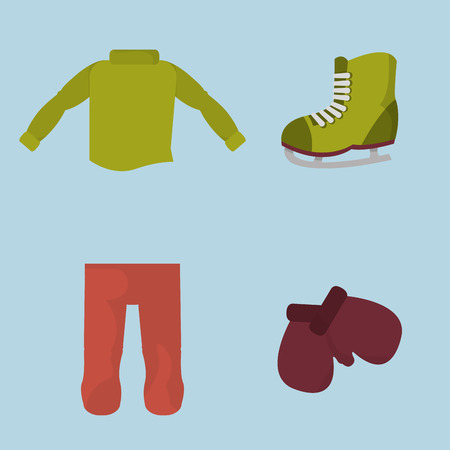 winter boy clothes to cold weather Vector illustration.