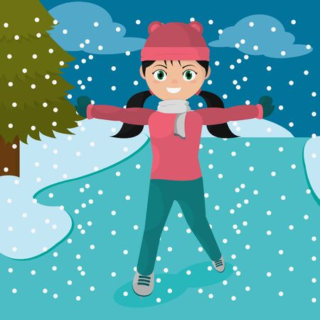 Girl with winter clothes icon. Illustration
