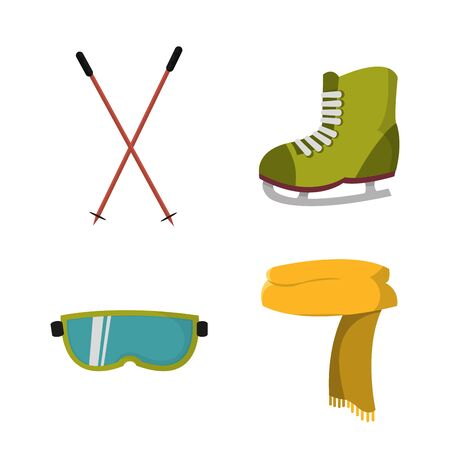 set ski and skates object to play in the snow Vector illustration.