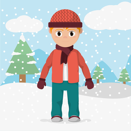 Boy with winter clothes and cold weather illustration.