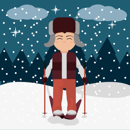 Boy with winter clothes and ski in the snow illustration.