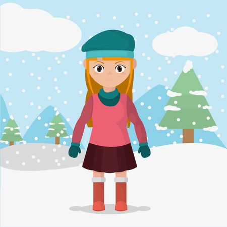 Girl with winter clothes in the cold weather illustration.