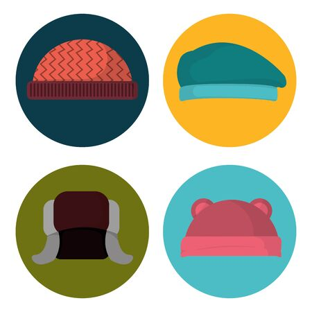 set winter hat clothes to cold weather Vector illustration.