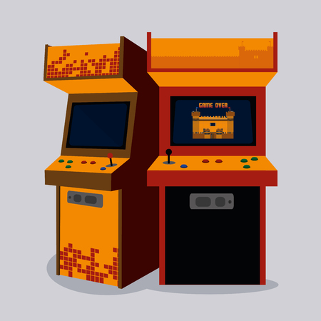Arcade machine design on gray background illustration.