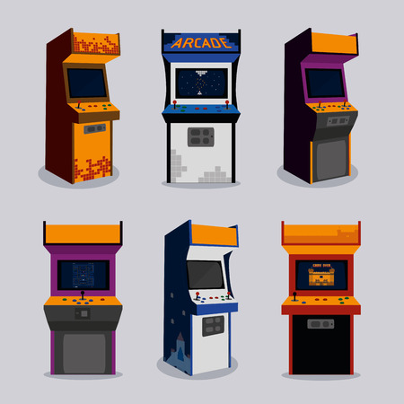 Arcade machine of videogame and play theme Vector illustration