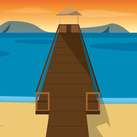 Beach with dock of summer vacation and tropical theme Vector illustration Ilustrace
