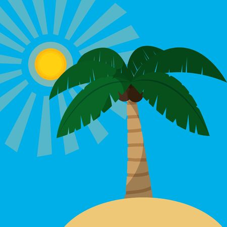 Beach and palm tree of summer vacation and tropical theme Vector illustration. Vectores