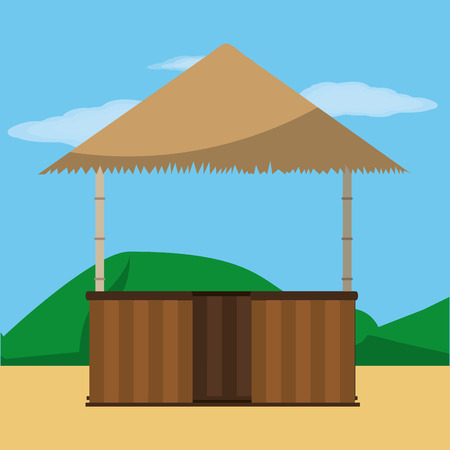 Hut of summer vacation and tropical theme Vector illustration.
