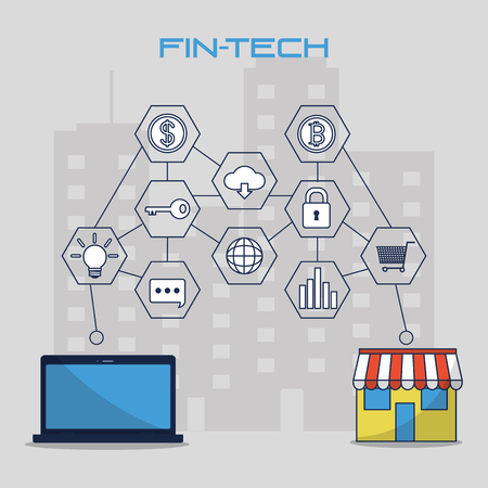 Fintech industry of technology money and business theme Vector illustration