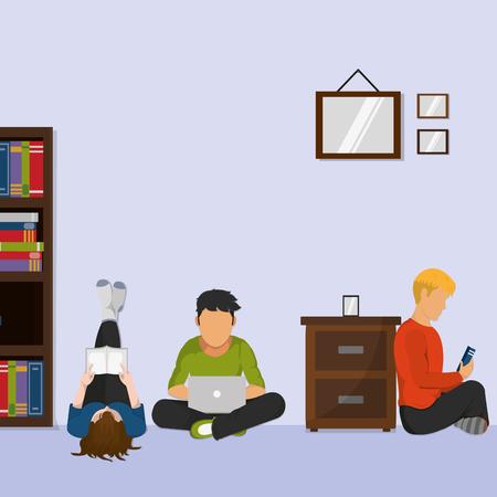 Learning through electronic gadgets illustration. 일러스트