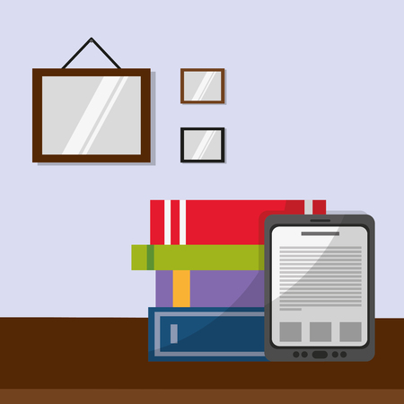 Books and tablet over table of education literature and read theme Vector illustration. 向量圖像