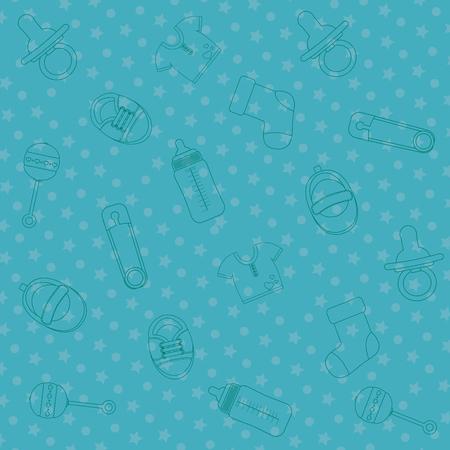 Baby shower icon set design Illustration