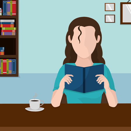 Woman reading vector illustration 일러스트