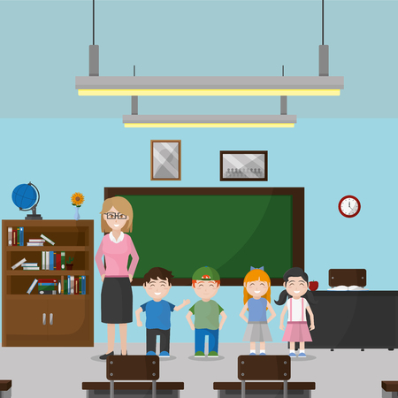 School classroom of education and lesson theme Vector illustration Ilustração