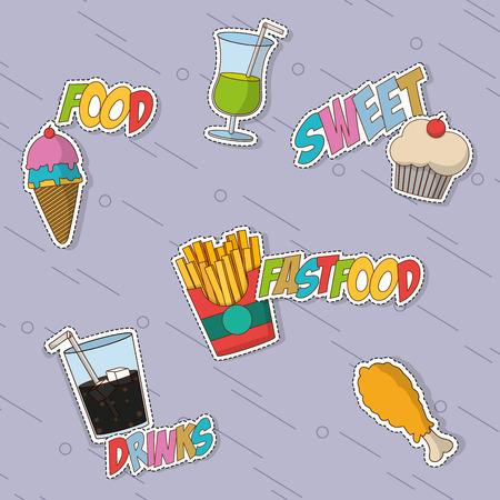 Fast-food icon decorontwerp op een unieke achtergrond. Stock Illustratie