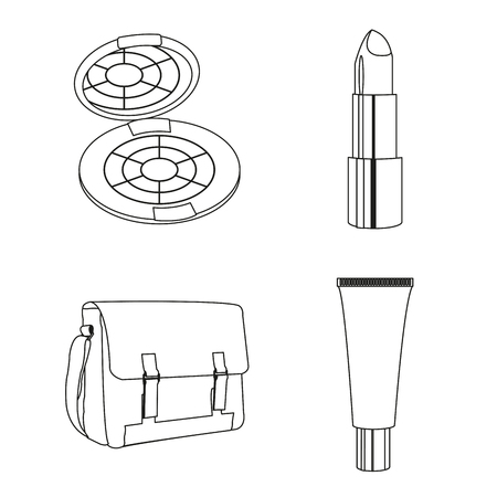 Icon set of make up accessories cosmetic and fashion theme Vector illustration.