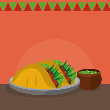 Burrito, Mexican food and traditional cuisine theme illustration.